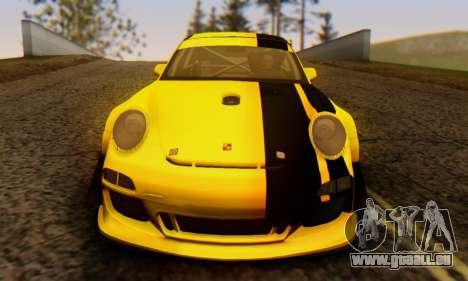 Porsche 911 GT3 R 2009 Black Yellow pour GTA San Andreas vue intérieure