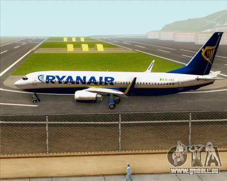 Boeing 737-8AS Ryanair pour GTA San Andreas vue intérieure