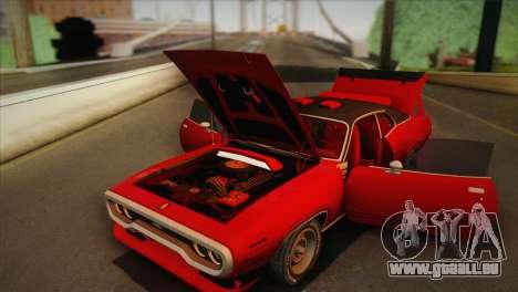 Plymouth GTX Tuned 1972 v2.3 für GTA San Andreas Innenansicht