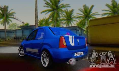 Dacia Logan Tuning Rally (B 48 CUP) pour GTA San Andreas sur la vue arrière gauche