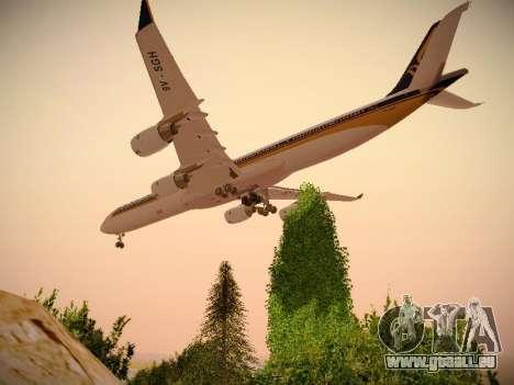 Airbus A340-600 Singapore Airlines für GTA San Andreas zurück linke Ansicht