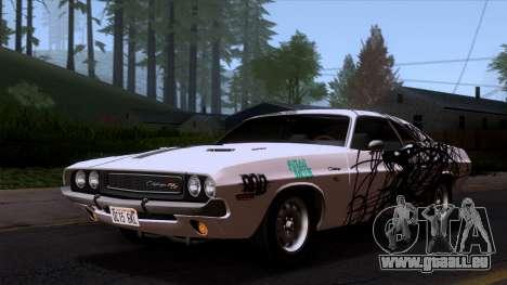 Dodge Challenger 426 Hemi (JS23) 1970 (ImVehFt) pour GTA San Andreas vue de dessous