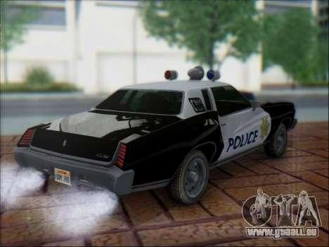 Chevrolet Monte Carlo 1973 Police pour GTA San Andreas vue arrière