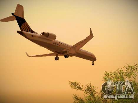 Bombardier CRJ-700 Continental Express für GTA San Andreas zurück linke Ansicht