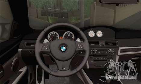 BMW M3 E92 pour GTA San Andreas sur la vue arrière gauche