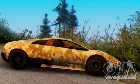 Lamborghini Murcielago Camo SV pour GTA San Andreas sur la vue arrière gauche