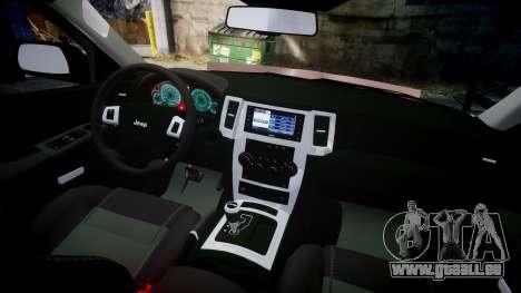 Jeep Grand Cherokee SRT8 rim lights pour GTA 4 Vue arrière