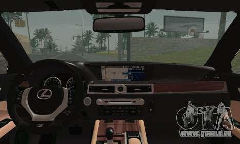 Lexus GS350 F Sport 2013 pour GTA San Andreas sur la vue arrière gauche