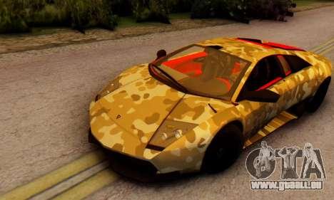 Lamborghini Murcielago Camo SV pour GTA San Andreas laissé vue