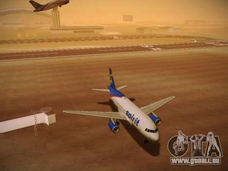 Airbus A319-132 Spirit Airlines pour GTA San Andreas vue de dessous