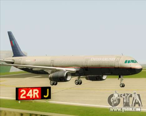 Airbus A321-200 United Airlines pour GTA San Andreas vue de dessus