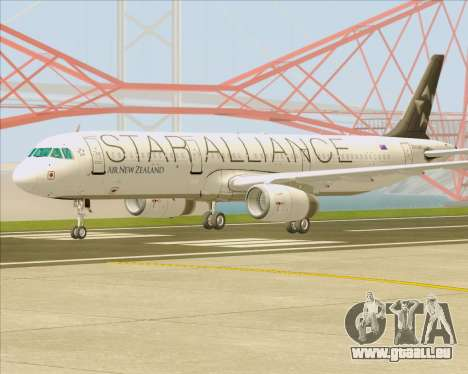 Airbus A321-200 Air New Zealand (Star Alliance) für GTA San Andreas rechten Ansicht