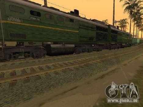 Locomotive 2TE10L-079 pour GTA San Andreas sur la vue arrière gauche