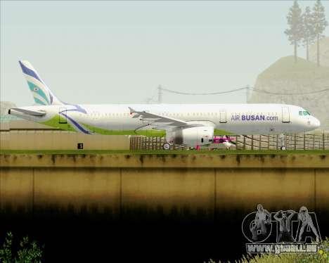 Airbus A321-200 Air Busan pour GTA San Andreas sur la vue arrière gauche
