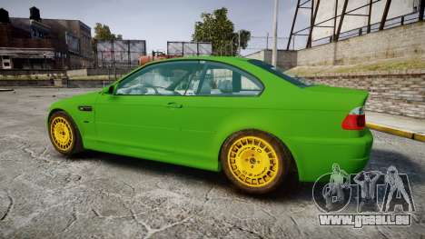 BMW M3 E46 2001 Tuned Wheel Gold pour GTA 4 est une gauche