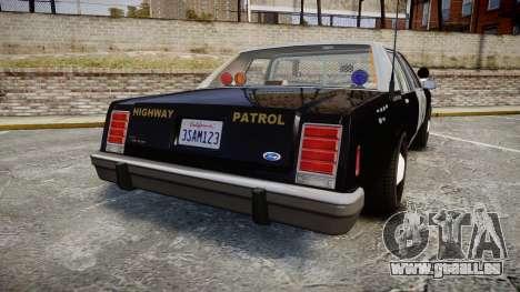 Ford LTD Crown Victoria 1987 Police CHP2 [ELS] pour GTA 4 Vue arrière de la gauche