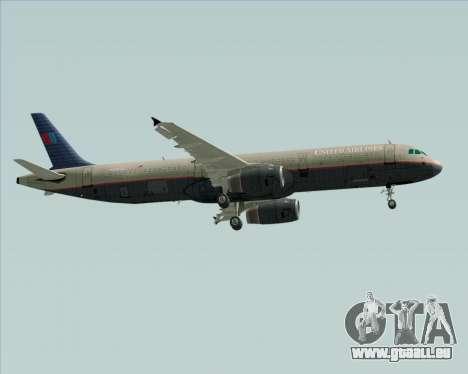 Airbus A321-200 United Airlines für GTA San Andreas zurück linke Ansicht
