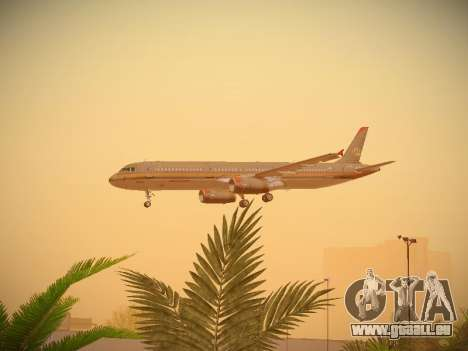 Airbus A321-232 Royal Jordanian Airlines für GTA San Andreas obere Ansicht