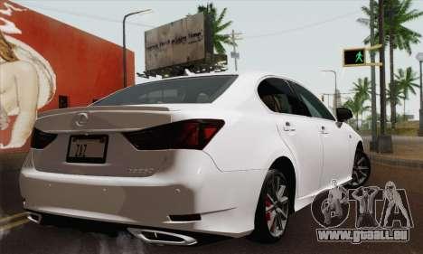 Lexus GS350 F Sport 2013 pour GTA San Andreas laissé vue