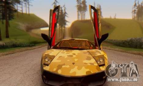 Lamborghini Murcielago Camo SV pour GTA San Andreas vue arrière