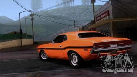 Dodge Challenger 426 Hemi (JS23) 1970 (ImVehFt) pour GTA San Andreas laissé vue