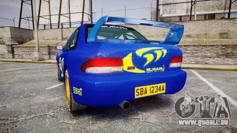 Subaru Impreza WRC 1998 Rally v3.0 Yellow pour GTA 4 Vue arrière de la gauche