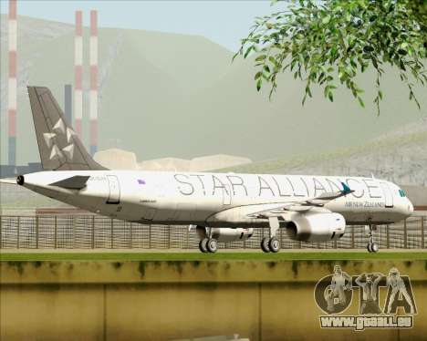 Airbus A321-200 Air New Zealand (Star Alliance) pour GTA San Andreas vue de dessous