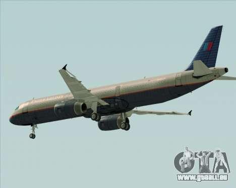 Airbus A321-200 United Airlines pour GTA San Andreas vue de dessous