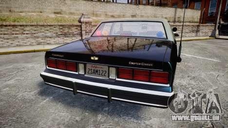 Chevrolet Caprice 1986 Brougham Police [ELS] pour GTA 4 Vue arrière de la gauche