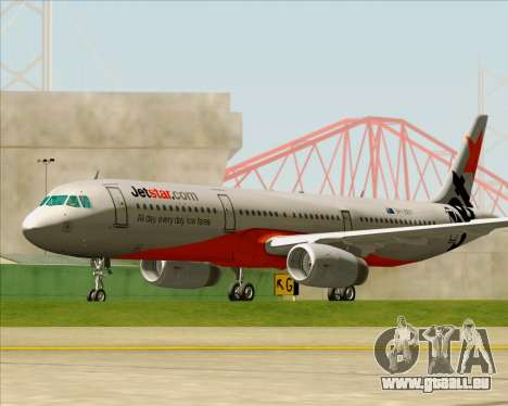 Airbus A321-200 Jetstar Airways für GTA San Andreas obere Ansicht