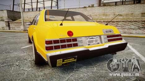 Albany Romans Taxi pour GTA 4 Vue arrière de la gauche