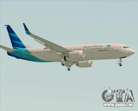 Boeing 737-800 Garuda Indonesia für GTA San Andreas zurück linke Ansicht