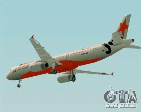 Airbus A321-200 Jetstar Airways für GTA San Andreas Unteransicht