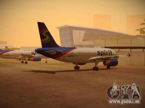Airbus A319-132 Spirit Airlines für GTA San Andreas zurück linke Ansicht