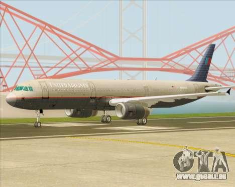 Airbus A321-200 United Airlines für GTA San Andreas linke Ansicht