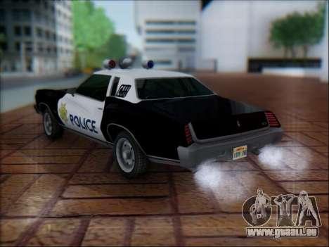 Chevrolet Monte Carlo 1973 Police pour GTA San Andreas sur la vue arrière gauche