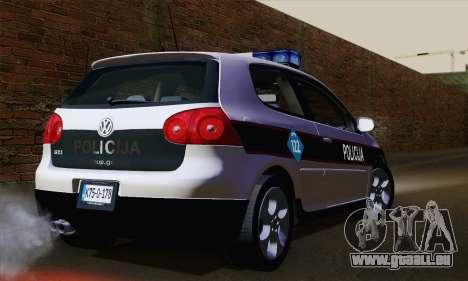 Volkswagen Golf 5 (ELM) pour GTA San Andreas laissé vue