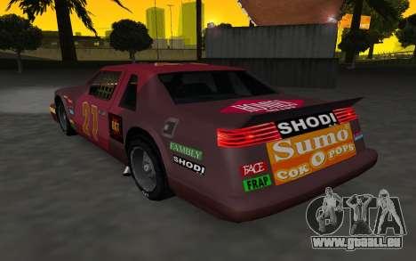 De nouveaux autocollants et non Hotring pour GTA San Andreas sur la vue arrière gauche