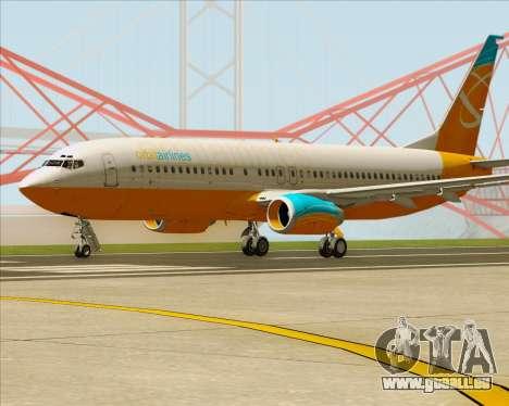 Boeing 737-800 Orbit Airlines pour GTA San Andreas sur la vue arrière gauche