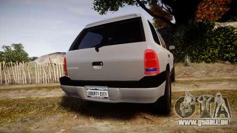 Dodge Durango 2000 Undercover [ELS] pour GTA 4 Vue arrière de la gauche