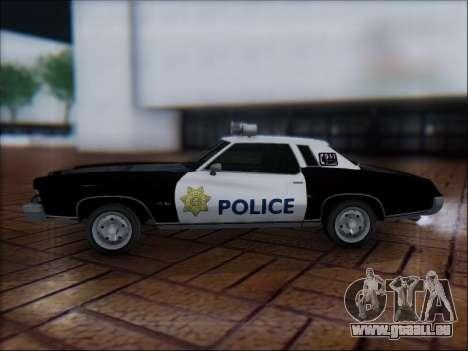 Chevrolet Monte Carlo 1973 Police pour GTA San Andreas laissé vue