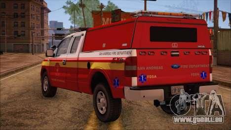 Ford F150 Fire Department Utility 2005 pour GTA San Andreas laissé vue