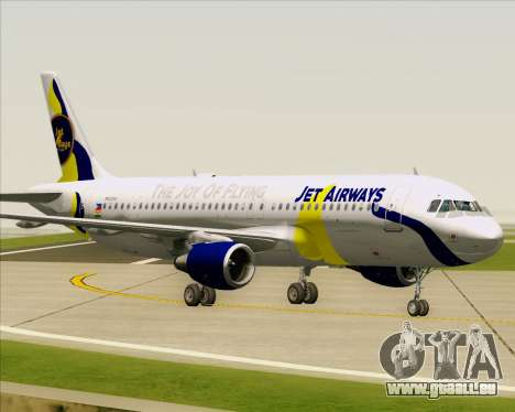 Airbus A320-200 Jet Airways pour GTA San Andreas vue de dessous