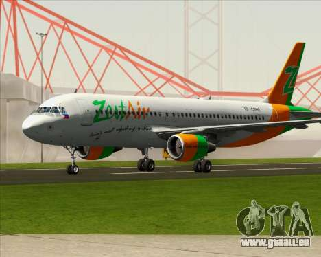 Airbus A320-200 Zest Air pour GTA San Andreas sur la vue arrière gauche