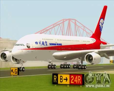 Airbus A380-800 Sichuan Airlines für GTA San Andreas obere Ansicht