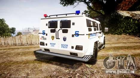 SWAT Van Police Emergency Service pour GTA 4 Vue arrière de la gauche