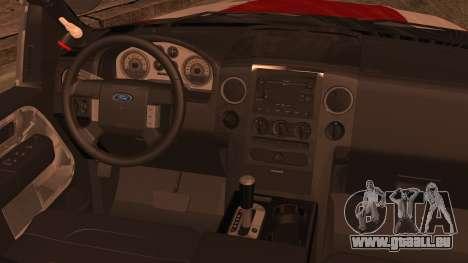 Ford F150 Fire Department Utility 2005 pour GTA San Andreas sur la vue arrière gauche