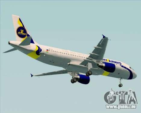 Airbus A320-200 Jet Airways für GTA San Andreas Rückansicht