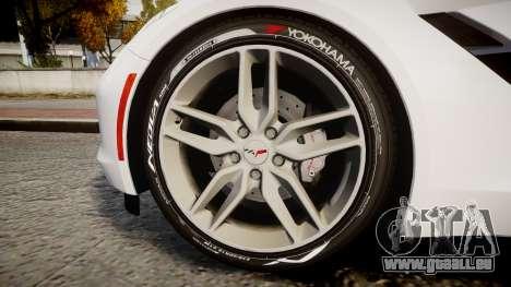Chevrolet Corvette C7 Stingray 2014 v2.0 TireYA1 für GTA 4 Rückansicht
