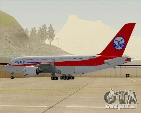Airbus A380-800 Sichuan Airlines pour GTA San Andreas vue de dessous